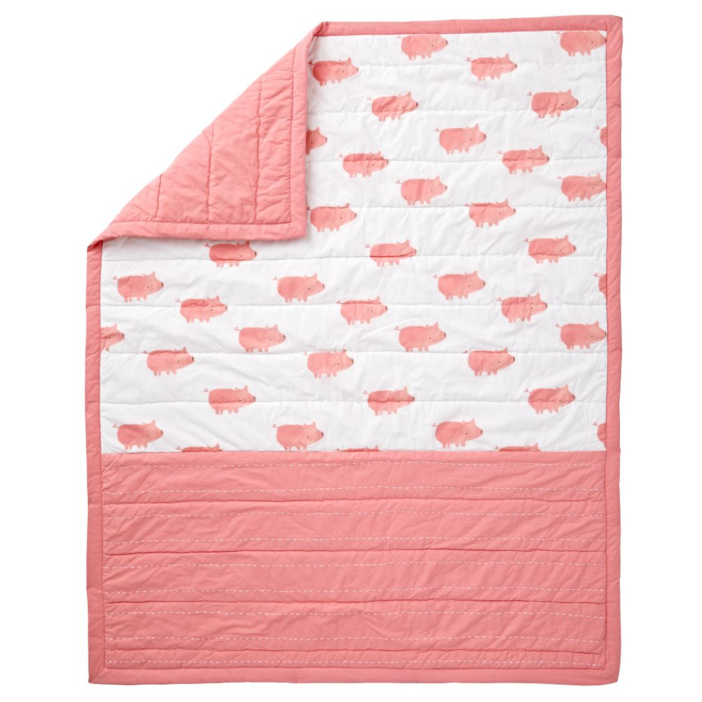 Pink Pig Wild Excursion Baby Quilt The Land Of Nod