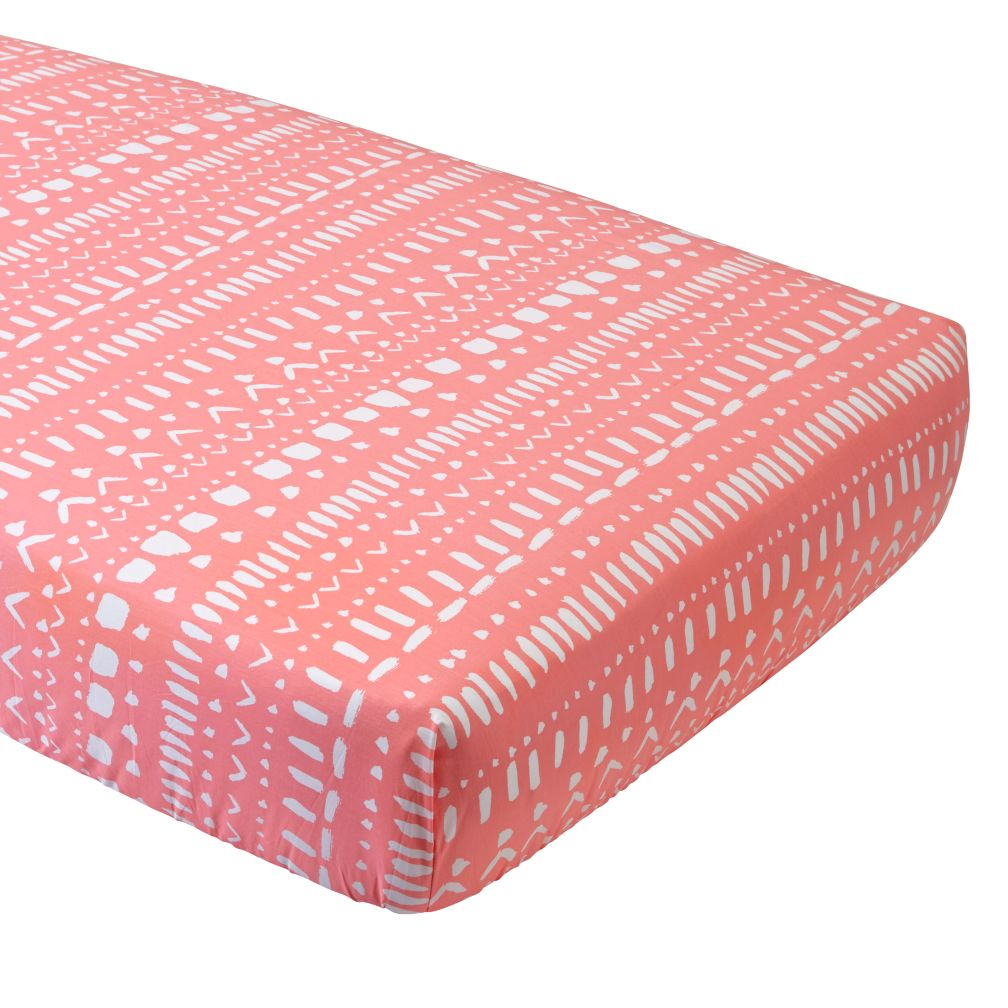 Pink Tribal Crib Fitted Sheet