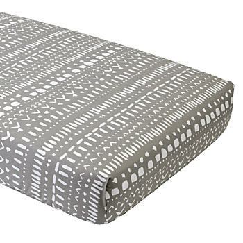Wild Excursion Grey Tribal Organic Crib Fitted Sheet