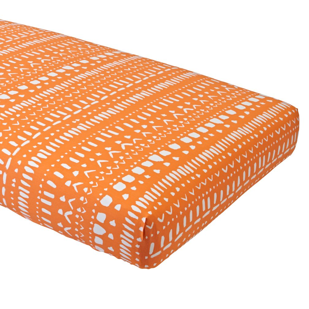 Organic Orange Tribal Fitted Crib Sheet