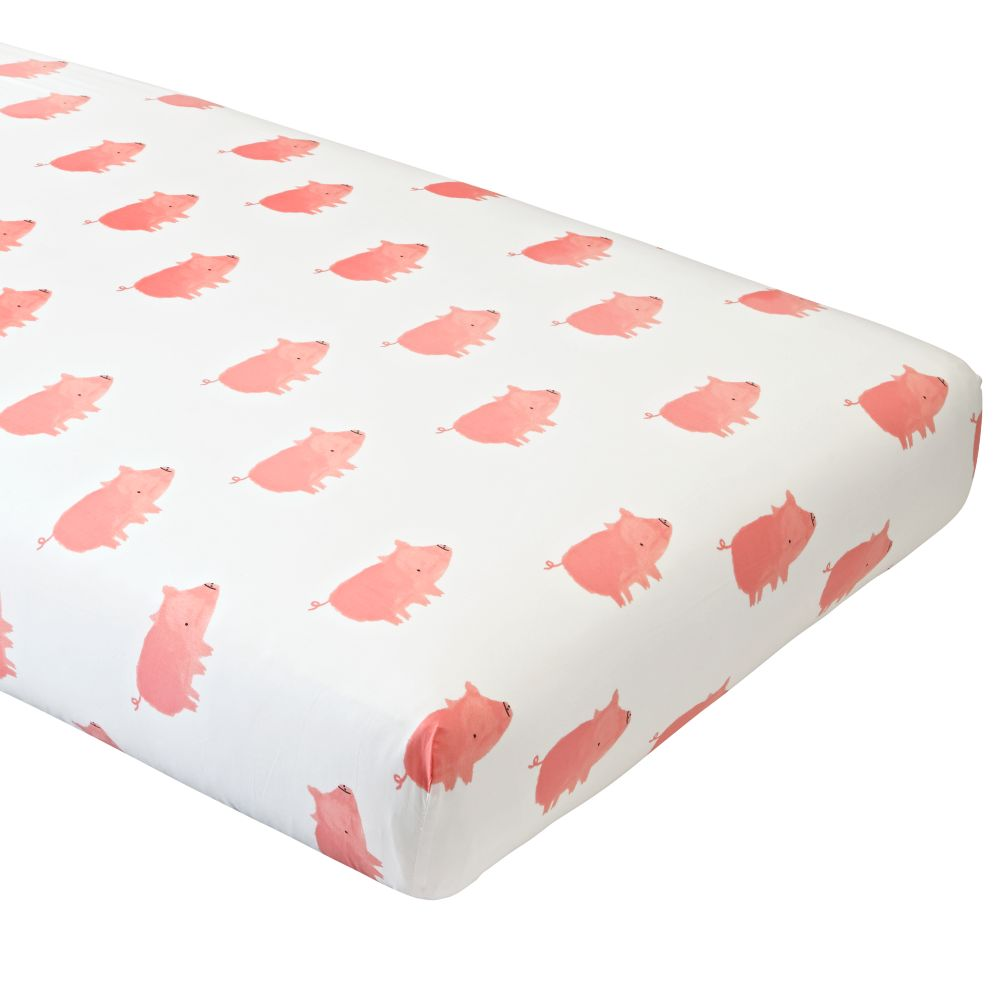 Wild Excursion Pig Organic Crib Fitted Sheet