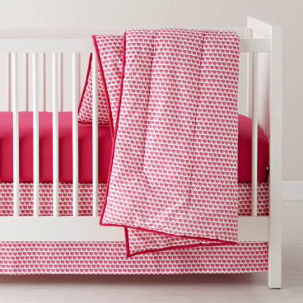 Crib Skirt: Pink Heart Crib Skirt - Pink Heart Reversible Crib Skirt