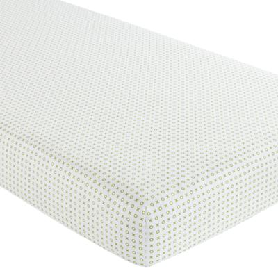 Fine Prints Crib Fitted Sheet (Green 'XO')