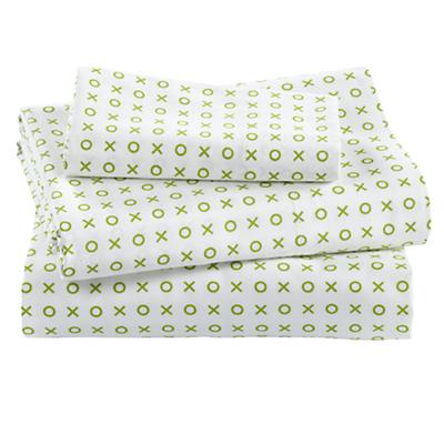 Fine Prints Toddler Sheet Set (Green 'XO')