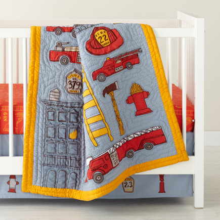 Crib Skirts: Firefighter Themed Crib Skirt - Fire Cadet Crib Skirt