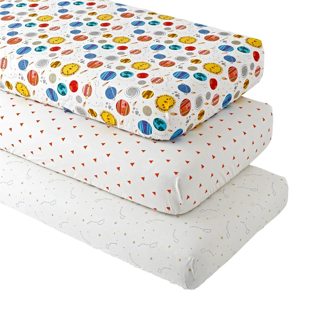 Deep Space Fitted Crib Sheets (Set of 3)