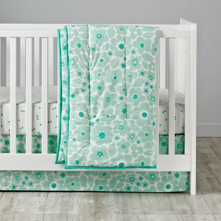 Go Lightly Baby Quilt (Mint Floral) - Mint Go Lightly Baby Quilt