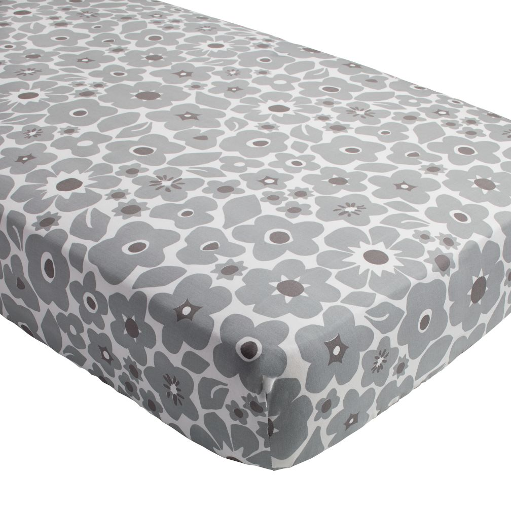 Go Lightly Crib Fitted Sheet (Grey Floral)