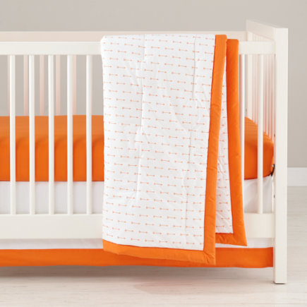 Iconic Orange Trim Crib Skirt - Orange Iconic Crib Skirt
