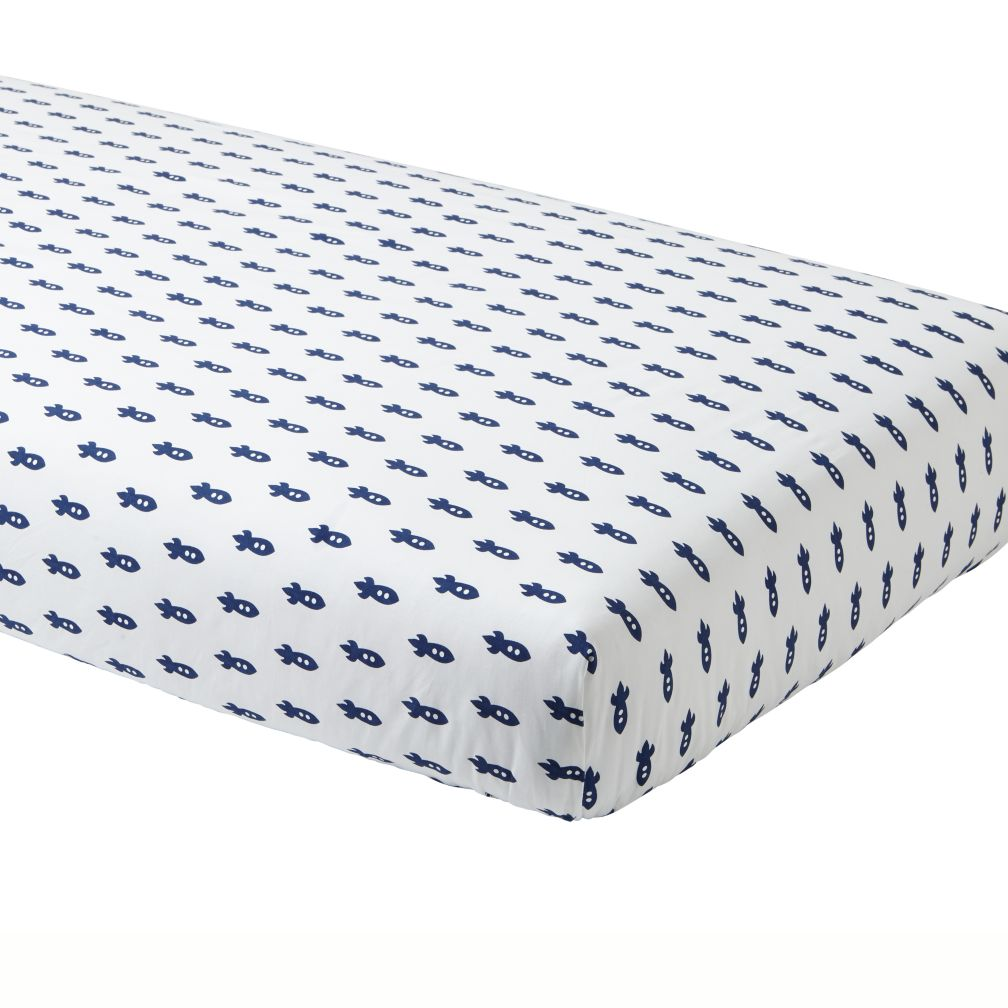 Little Prints Crib Fitted Sheet (Blue Rocket)