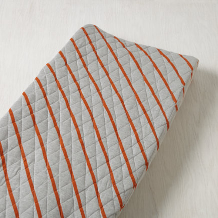 Little Prints Changing Pad Cover (Orange Jersey) - Orange Stripe Little Prints Changing Pad Cover