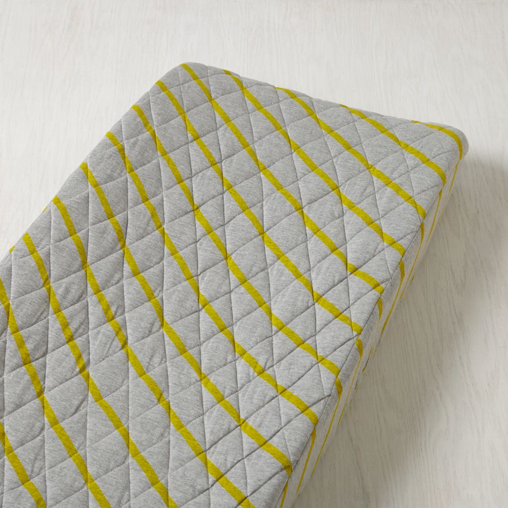 Little Prints Changing Pad Cover (Yellow Stripe)