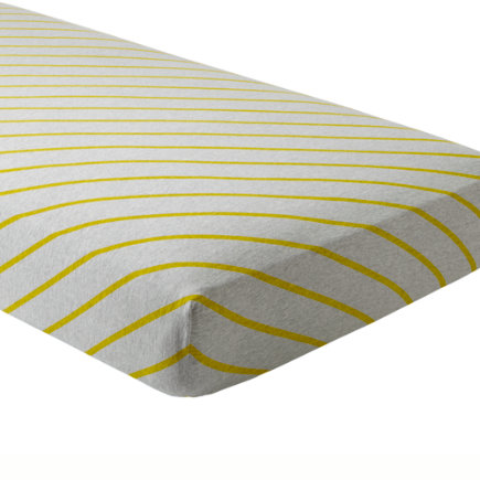 Little Prints Crib Sheet (Yellow Stripes) - Yellow Stripe Little Prints Crib Fitted Sheet