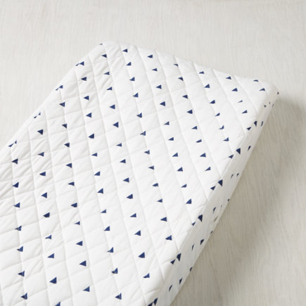 Little Prints Changing Pad Cover (Blue Triangle) - Blue Triangle Little Prints Changing Pad Cover