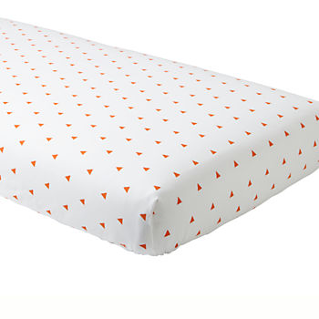 Little Prints Crib Fitted Sheet (Orange Triangle)