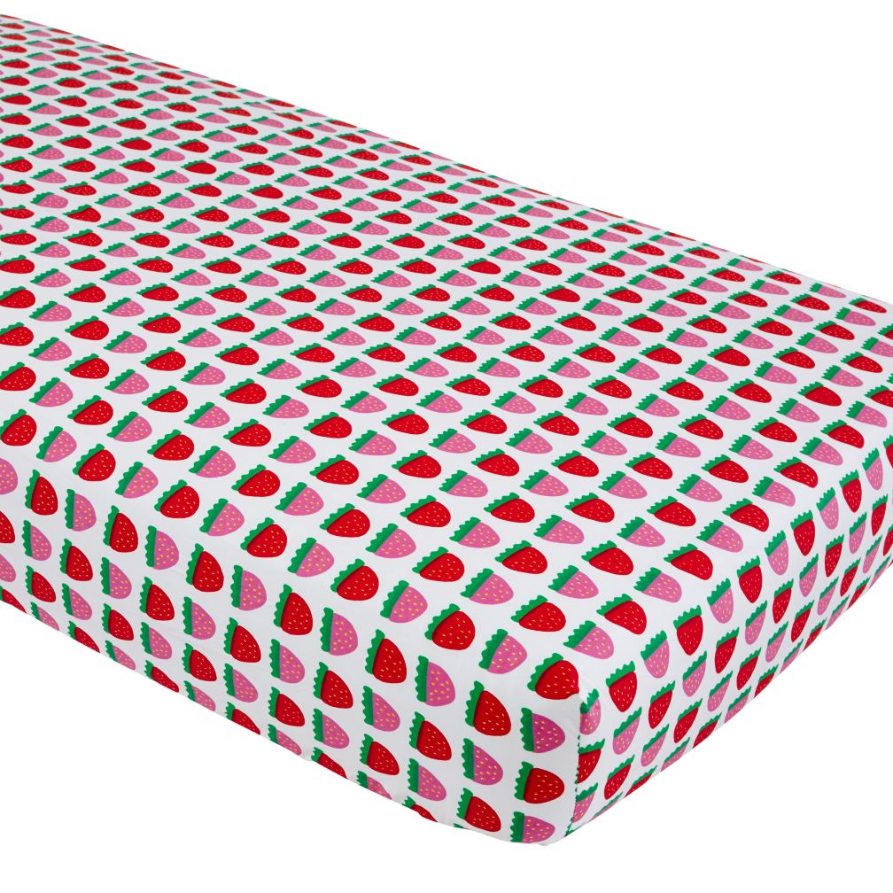 Farmer's Market Crib Fitted Sheet (Strawberry)