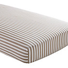 Khaki Stripe Crib Fitted Sheet