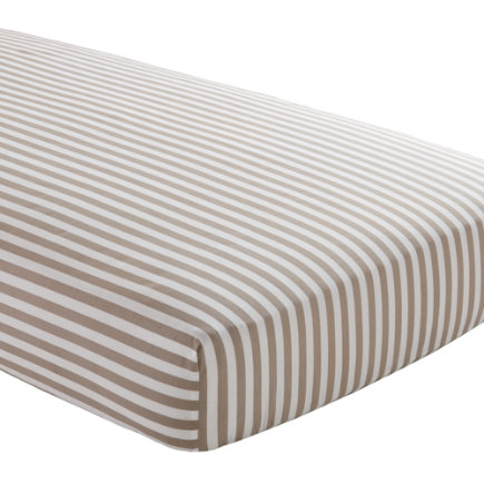 Crib Sheets: Khaki Striped Crib Sheet - Khaki Stripe Crib Fitted Sheet