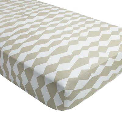 Mod Botanical Crib Fitted Sheet (Grey Diamond)