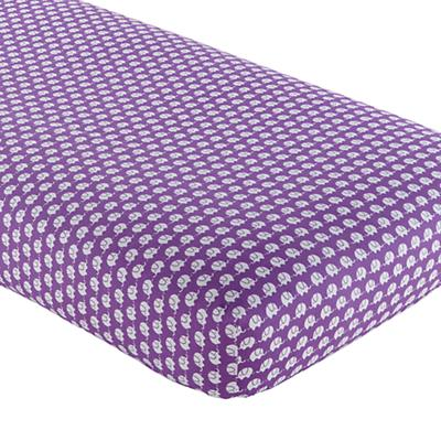 Crib Fitted Sheet (Purple Elephant Print)