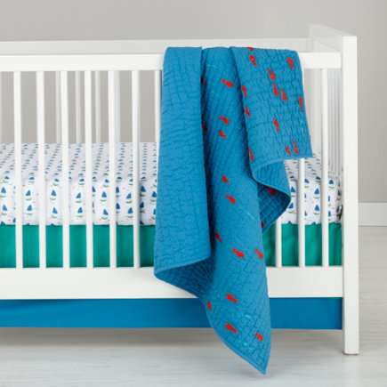 Teal and Blue Color Block Crib Skirt - Blue & Turquoise Crib Skirt