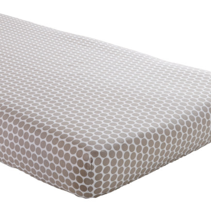 Crib Sheets: Khaki Polka Dot Crib Sheet - Khaki Dot Crib Fitted Sheet