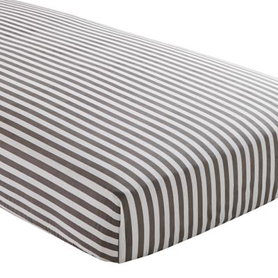 Organic Grey Stripe Crib Fitted Sheet
