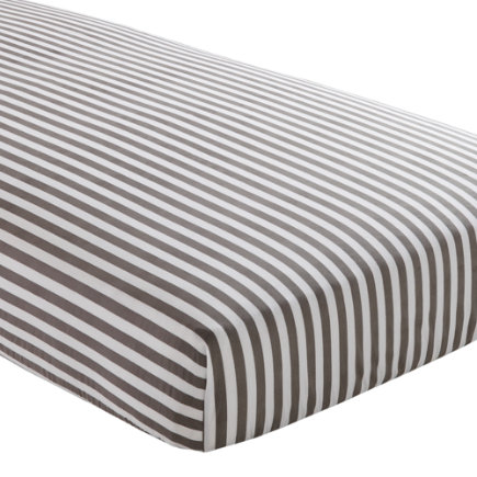 Baby Sheets: Grey Striped Fitted Crib Sheet - Grey Stripe Fitted Crib Sheet