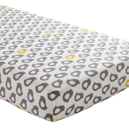 Baby Sheets: Grey Chick Fitted Crib Sheet - Yellow & Grey Chick Print Crib Fitted Sheet