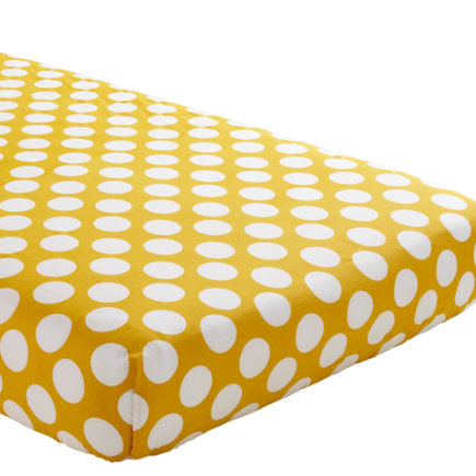 Baby Sheets: Yellow Dotted Fitted Crib Sheet - Yellow with White Dot Crib Fitted Sheet