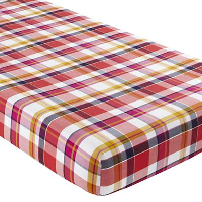Crib Fitted Sheet (Pink Plaid)