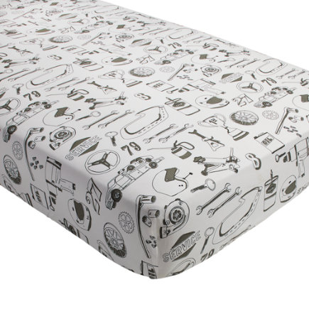 Pit Crew Race Car Crib Fitted Sheet - Pit Crew Crib Fitted Sheet