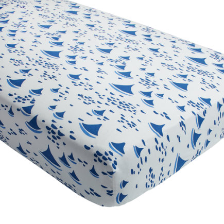 Regatta Sailboat Crib Fitted Sheet (Sailboat) - Regatta Blue Sailboat Crib Fitted Sheet