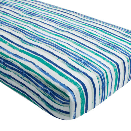 Regatta Sailboat Crib Fitted Sheet (Blue) - Regatta Blue Stripe Crib Fitted Sheet