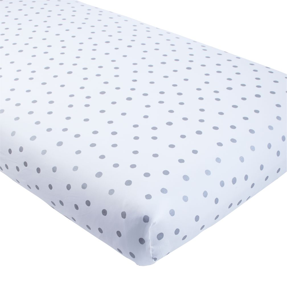 Silver Dot Crib Fitted Sheet