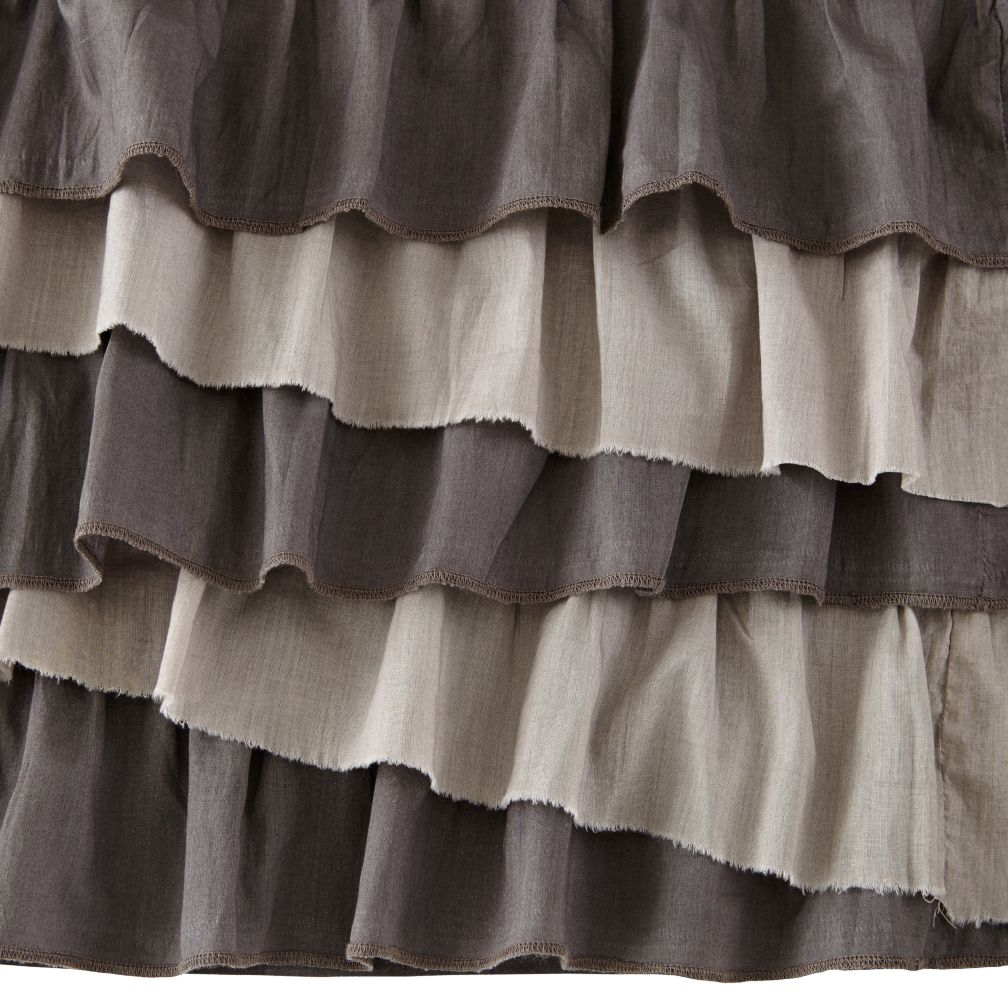Grey Ruffle Crib Skirt