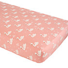 Pink and White Swan Crib Sheet