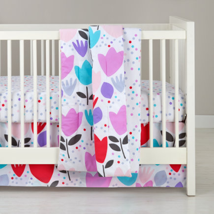 Tulip Flower Printed Crib Skirt - Reversible Multi Tulip & Dot Crib Skirt