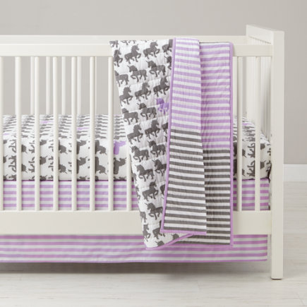 Unicorn Parade Purple Stripe Crib Skirt - Purple and Grey Stripe Unicorn Crib Skirt