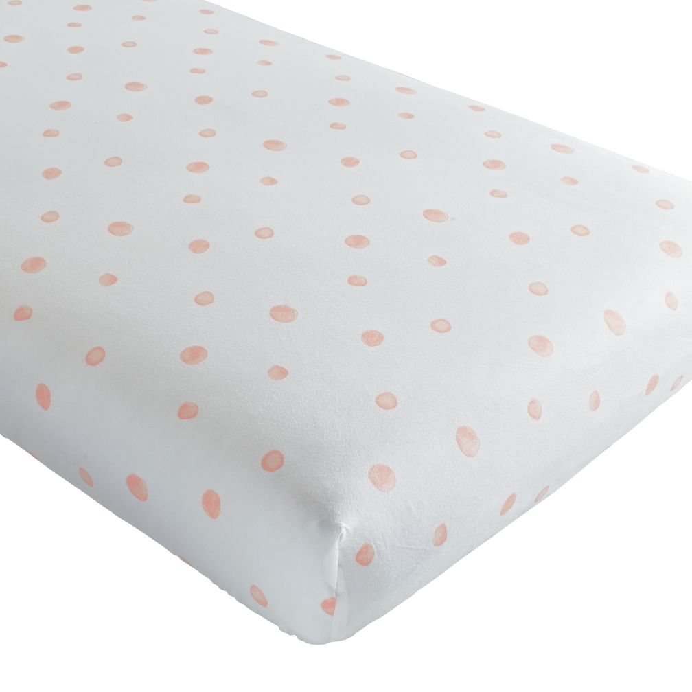 Washed Dot Organic Crib Fitted Sheet