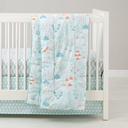 Forest Themed Crib Skirt (Blue Acorns) - Blue/White Nested Organic Crib Skirt