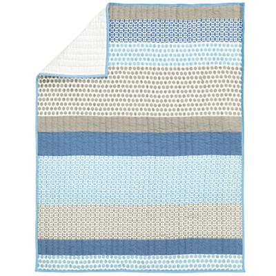 Patterned Print Baby Quilt (Blue)