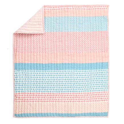 Patterned Print Bedding (Pink) - Pink & Blue Pattern Print Baby Quilt