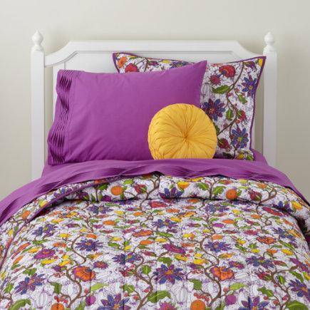 Girls Bedding: Vines of Flowers Bedding Set - Twin Conservatory Quilt<br />