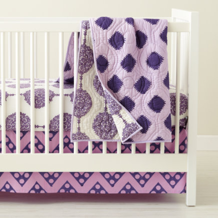 Crib Skirts: Purple Chevron Crib Skirt - Purple Zig Zag Print Crib Skirt