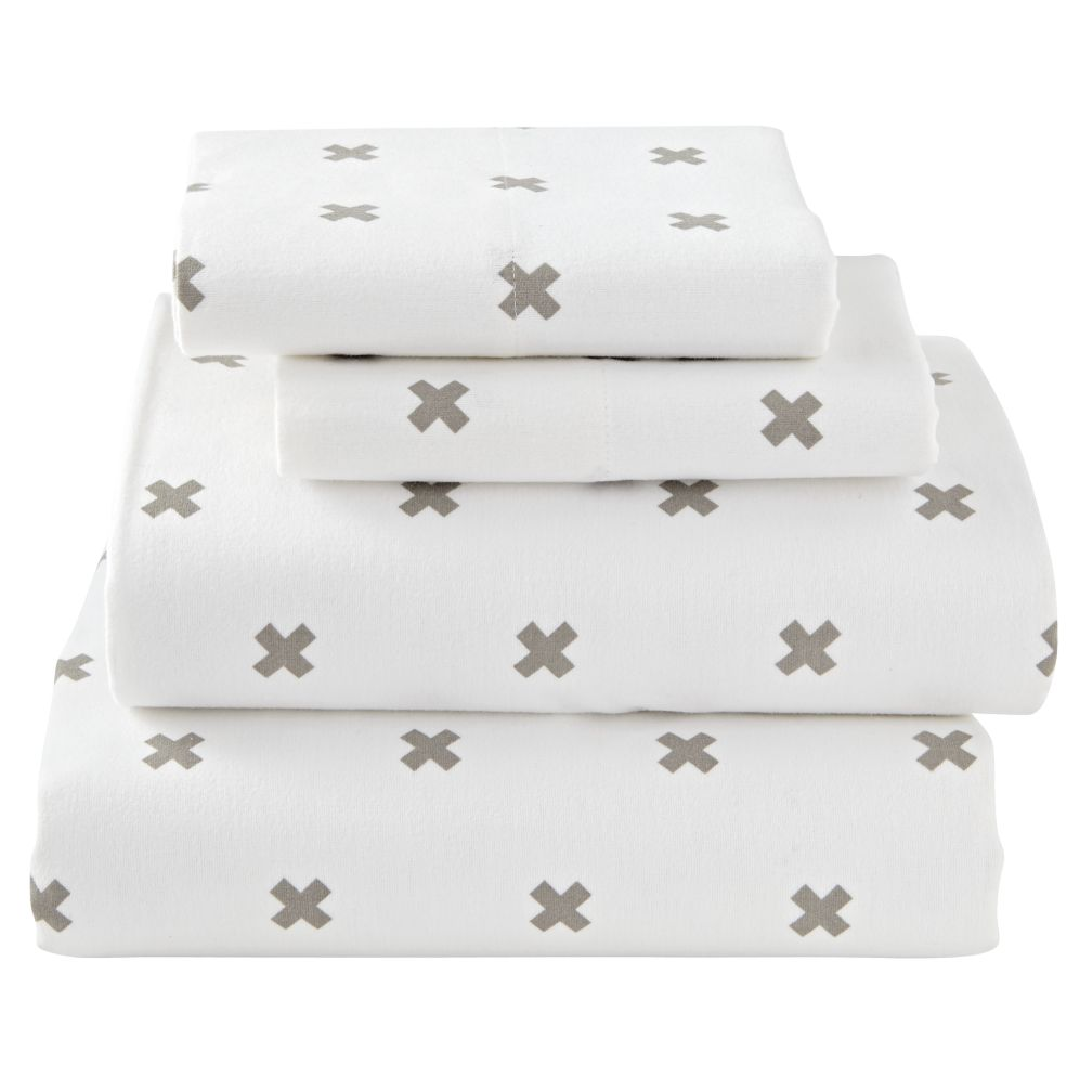 Queen Crisscross Flannel Sheet Set