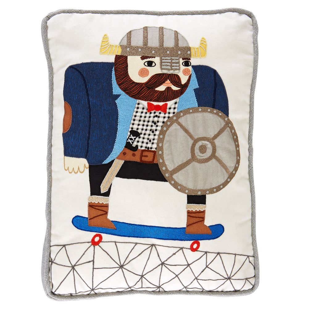 Viking on Skateboard Throw Pillow