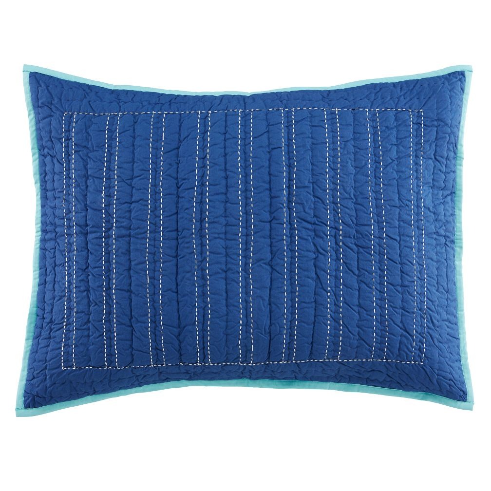 Deep Blue Quilted Sham