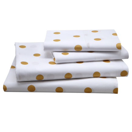 Kids Sheet Set: Gold Polka Dotted Sheet Set - Twin Gold Dot Sheet SetIncludes fitted sheet, flat sheet and one pillowcase