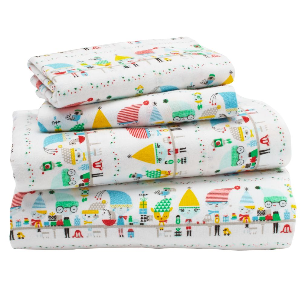 Elf Help Flannel Sheet Set
